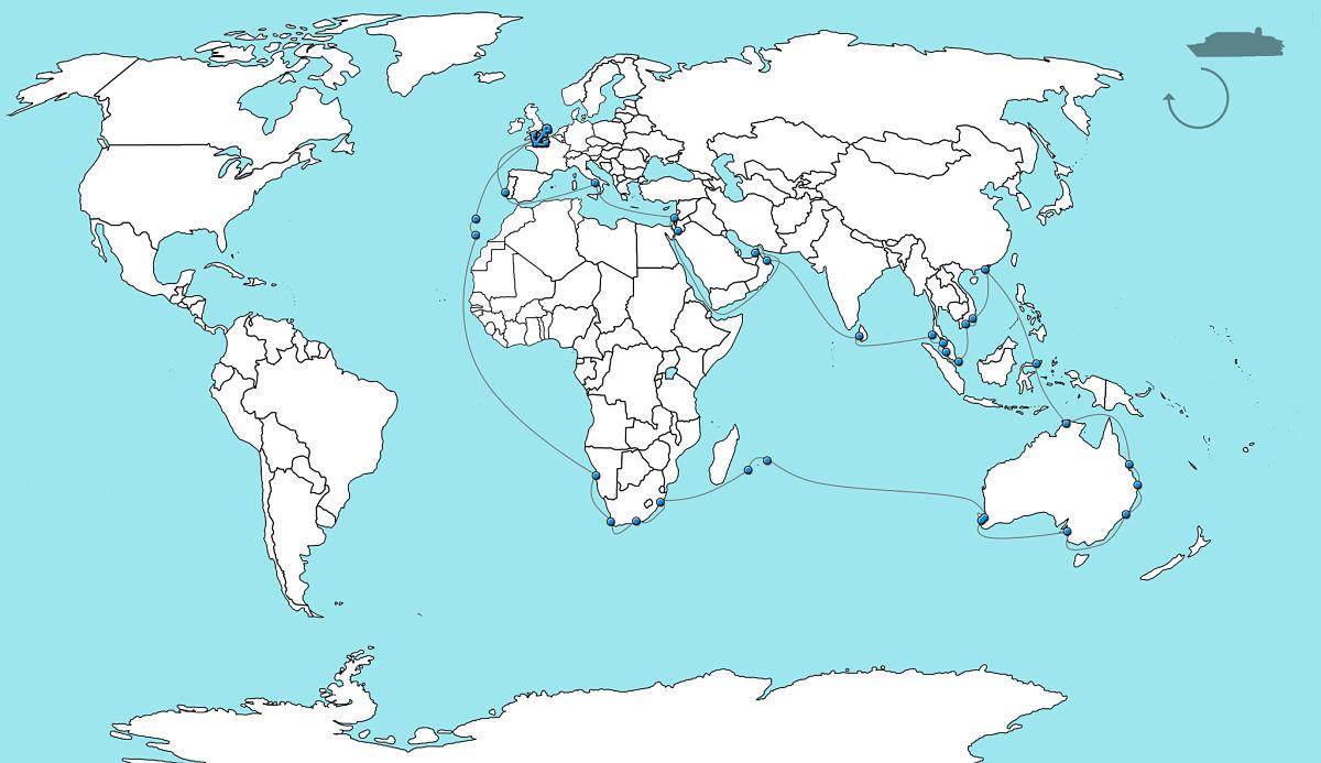 Kaart wereldcruise QM2 2020