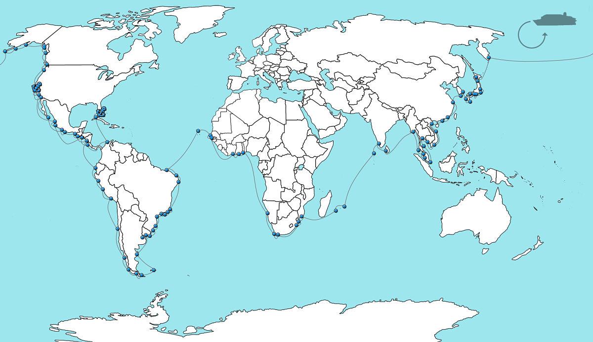 wereldcruise kaart insignia wereldcruise 2020