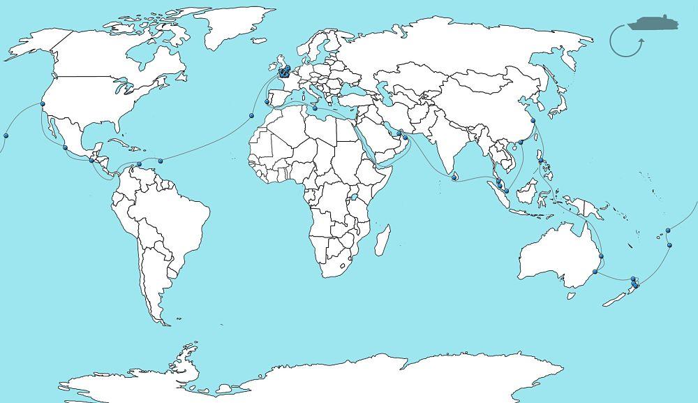Wereldcruise arcadia 2020