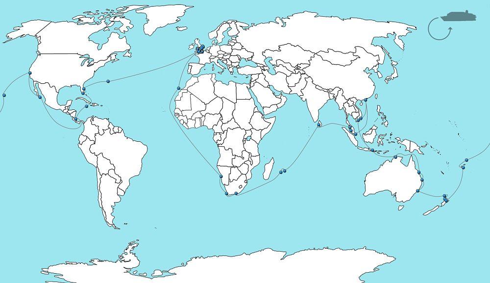 Wereldkaart wereldcruise Queen Victoria 2021