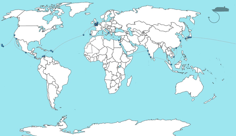 Wereldkaart cruise Borealis 2023 - in 80 dagen rond de wereld